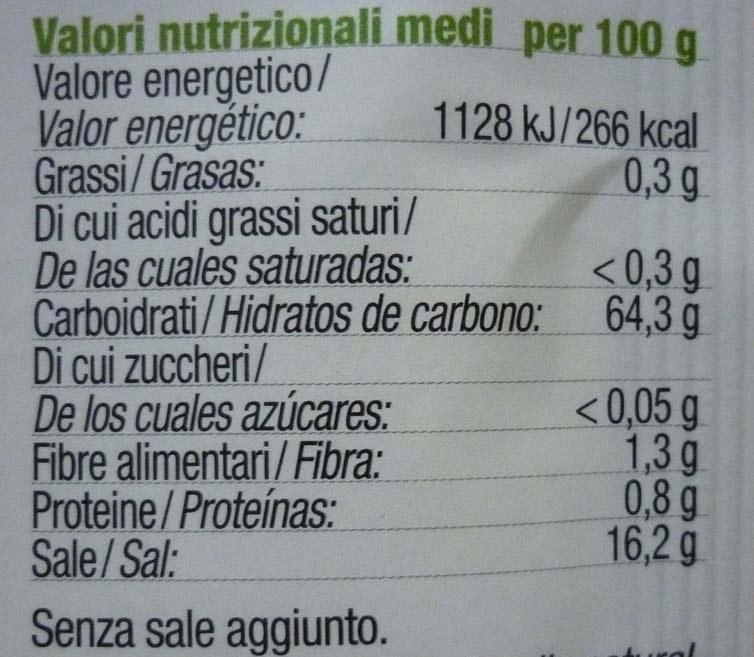etichetta valori nutrizionali polvere lievitante