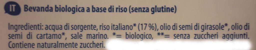 etichetta ingredienti bevanda riso