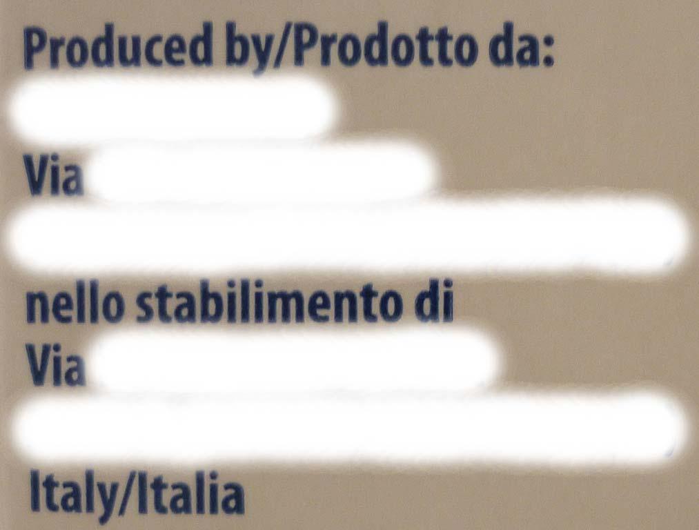 etichetta produttore stabilimento produzione