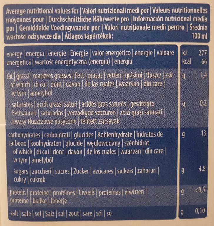 tabella nutrizionale bevanda riso
